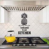 Bienvenue Dans Notre Cuisine Ananas Sticker Mural Cuisine Moderne Gourmet Décoration Murale Taille Étanche Bricolage Peinture Murale Noir 24X42 Cm
