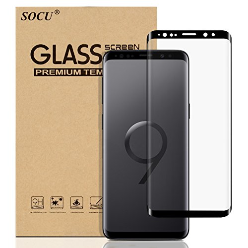 SOCU Protection écran pour Samsung Galaxy S9, Film de protection d'écran en Verre Trempé [3D Couverture complète] pour Samsung Galaxy S9 - Noir