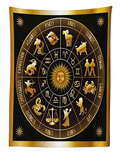 ABAKUHAUS Astrologie Wandteppich Signs Kreis Sonne-Mondaus Weiches Mikrofaser Stoff 110x150cm Waschbar Klarer Digitaldruck Dunkle Armee grün orange -
