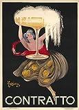 Riproduzione di poster in stile vintage, motivo: birre, vini e alcolici, con scritta Contratto, Francia, 1922 di Leonetto Cappiello, 250 g/m², carta lucida, A3