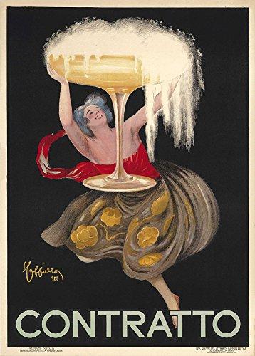 Spirituosen-kunst-plakat (Vintage Beers, Weine und Spirituosen Contratto, Frankreich C1922von Leonetto Cappiello 250gsm, Hochglanz, A3, vervielfältigtes Poster)
