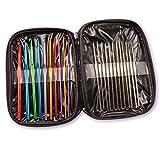 1 X Pack de 22 tamaños de Ganchos de Ganchillo de Aluminio y Acero Agujas Hilado Tejido Knit Craft Set In Case