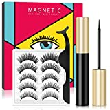 Magnetic Eyeliner and Lashes Kit, 3D Reusable Natural Look False Eyelashes Set with Tweezer, Waterproof Magnetic Liquid Eyeliner, Ultra Thin Magnet, No Glue Needed (5 Pairs)