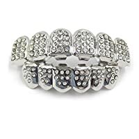 HIPHOP plating Environmental protection copper diamond Teeth Grillz for unisex,silver udubi