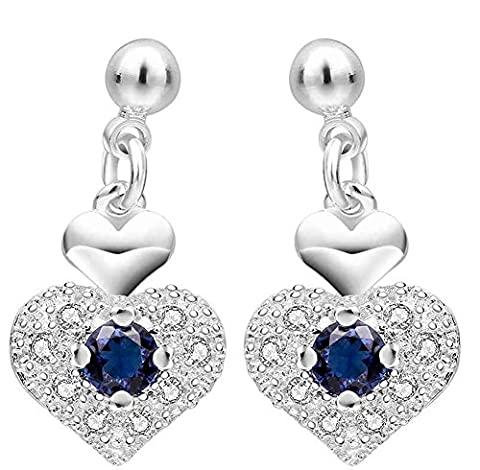 SaySure - Jewelry Silver Plated purple heart Earrings