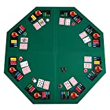 "GYMAX 1.2m/48"" Large Poker Table Top Foldable 8 Players Table W/Chip Trays & Drink Holders"