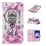 für Smartphone Huawei Enjoy 7S / P Smart Hülle, Leder Tasche für Huawei Enjoy 7S / P Smart Flip Cover Handyhülle Bookstyle mit Magnet Kartenfächer Standfunktion # (2)