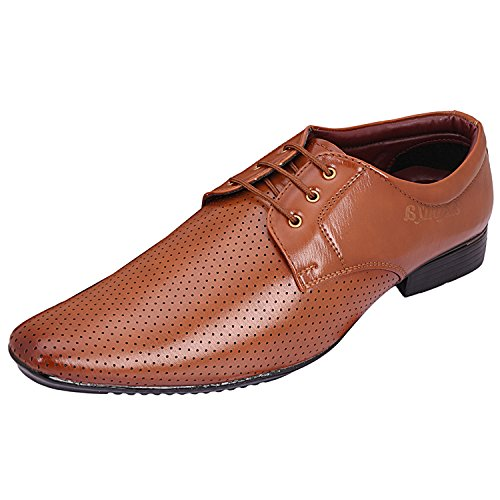 AXONZA Mens' Tan 415 Lace up Office/Party wear Formal Shoes (8, TAN)  available at amazon for Rs.199