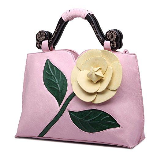 KAXIDY PU Leder Blume Handtasche Schultertaschen Messengerbags Schulter Handtasche Tasche Damentasche Rosa