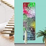 Bilderwelten Garderobe - Bunte besprühte alte Wand aus Backstein, Größe HxB: 139cm x 46cm