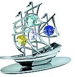 CrystoCraft - Barca a vela in miniatura,con perle in cristallo Swarovski®, idea regalo, oggetto decorativo, colore: Argentato