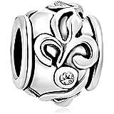 Pugster Damen-Beads Versilbertes Metall Art Silver Weiß Farbe Flower Pattern European Charms