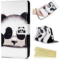 Mavis's Diary Wiko Lenny 2 Coque Étui Coque de Protection Housse Portefeuille en Cuir + TPU Silicone Bookstyle Antichoc Flip Phone Case Cover Étui à Rabat Magnétique Panda + Chiffon