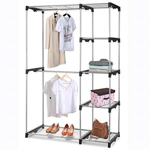 Yahee Stabiler Kleiderständer Wäscheständer auf Rollen, Garderobenständer (C-mit 4 Ablagen silber)