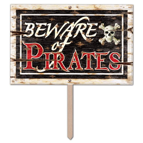 Preisvergleich Produktbild 3D Schild Beware of Pirates 48 cm