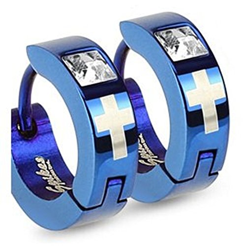 pair-of-stainless-steel-blue-coloured-huggie-hoop-earrings-with-crucifix-and-single-square-gem-detai