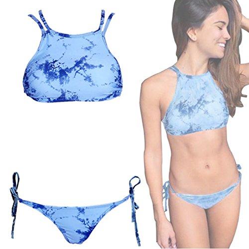 Ayliss® Damen Push up Padded Bikini Set Tie Dye Sexy Badeanzug Bademode (EU Gr.) (EU 34-36(Cup B)) (Tie Element Dye)