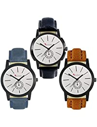Talgo 2017 New Collection Foxter (combo Of 3) White Round Shapped Dial Leather Strap Fashion Wrist Watch For Boys... - B0763VFH7N