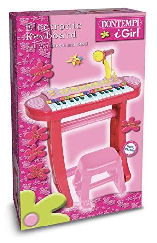 Bontempi tastiera elettronica 13367231-key i girl con microfono/gambe/sgabello/usb portatile per flash drive