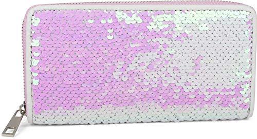 styleBREAKER Damen Portemonnaie mit Wende Pailletten Oberfläche, Reißverschluss, Geldbörse 02040120, Farbe:Perlmutt/Silber -