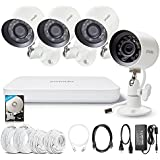 Zmodo 720P HD sPoE Digital Home Security Outdoor Cameras System, 4 Waterproof Bullet IP Cams, 20m Night Vision Surveillance Camera, Pre-Installed