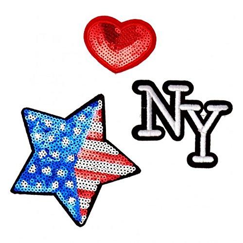 Herz, NY und USA Bügelbilder im 3er Set - Aufnäher