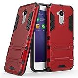 Coque pour Huawei Honor 6A (5 Pouces) 2 en 1 Double Couches Étui Antichocs Protection Rigide Anti Choc avec Fonction Support (Rouge)