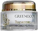 Greendoor Tagescreme weißer Tee 50ml, vegane schützende straffende natürliche Tagespflege ohne Fettglanz, Naturkosmetik Manufakturqualität, Natur Gesichtscreme mit Bio Olivenöl, Creme Gesicht