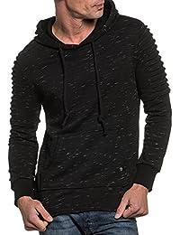 BLZ jeans - Sweat homme noir chiné à capuche et nervures fashion