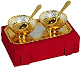 #8: Anand Crafts Silver & Gold Bowls, Spoons & Tray Gift Set