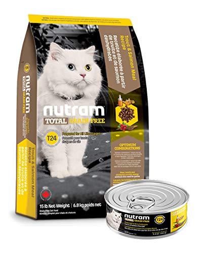 Nutram T24 6,8 Kilo getreidefrei Katzenfutter Forelle Lachs trocken + 156gr. Nassfutter