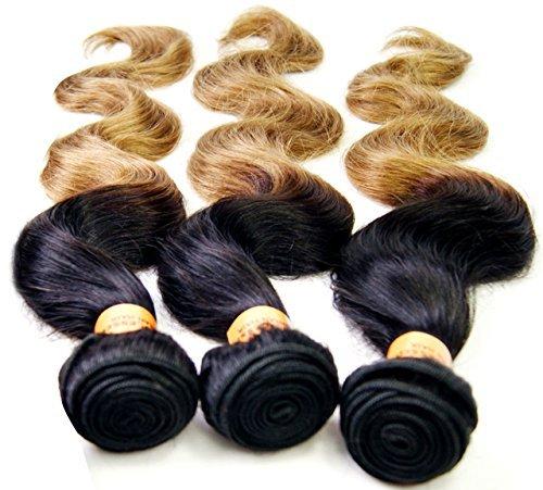 NuoYa005 Haarverlängerung/Haarextension, brasilianisches Remy-Echthaar, Güteklasse 6A, gewellt, 300g, 3 Stränge mit 36/41/46cm, Ombré-Stil, Schwarz/goldfarben 22 In Extensions Echthaar