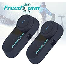 Freedconn 2 pièces FDC 800m BT Moto Moto Casque Bluetooth Intercom Interphone Casque Bluetooth Casque multi Interphone sans fil mains libres casques appropriés pour Motocyclisme, ski, motoneige, VTT Avec Ecran LCD FM