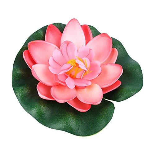 Giglio di acqua artificiale di 10 cm, ornamento di piante da piscina galleggiante con fiori di loto finto