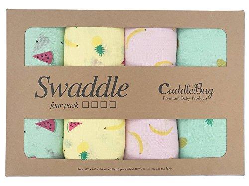 Tutti Frutti - CuddleBug Muselinas Pack de 4 | Mantas de Muselina de Algodón | Paños de Muselina para Bebés Calidad | Garantía de por Vida | Mantas Envolventes
