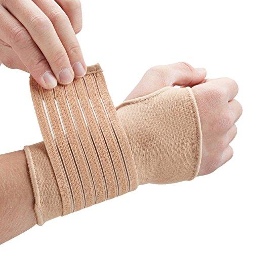 Actesso Handgelenkbandage Handbandage - Ideal für verstauchungen beim sport und sehnenscheidenentzündung - handgelenk stützung ohne verlust der bewegungs (Groß Beige) -