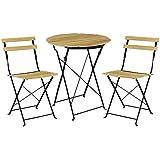 [casa.pro]® Set bistro de madera (mesa + 2 sillas) juego de muebles de jardín, balcón - efecto madera