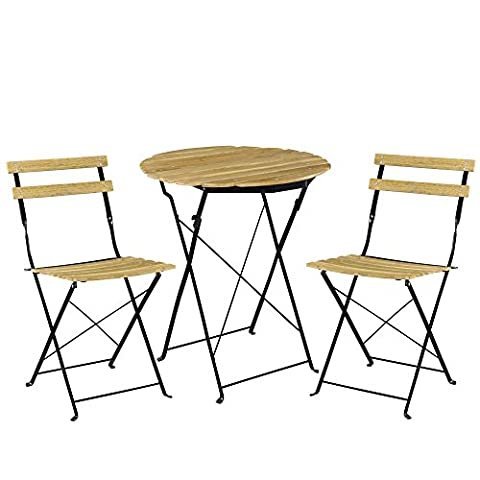 [casa.pro]® Kit de bistro Set (Table + 2 Chaise) Meuble du jardin balcon - aspect du bois