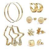 Czemo 6 pares Mezcla Estilo Pendientes Set oro perlas sintéticas,aros, copos de nieve Clasificado Múltiple Stud Pendientes Set para Mujeres Niñas