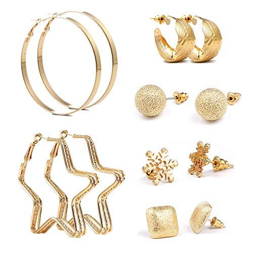 Czemo 6 pares Mezcla Estilo Pendientes Set oro perlas sintéticas,aros