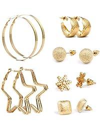 ebfeeed719aa Czemo 6 pares Mezcla Estilo Pendientes Set oro perlas sintéticas
