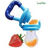 Luerme Baby-Säugling Lebensmittel Obst Essen Feeder Silikon-Nippel-Beißring Fütterung Schnuller Beruhigungssauger (M, Blau)