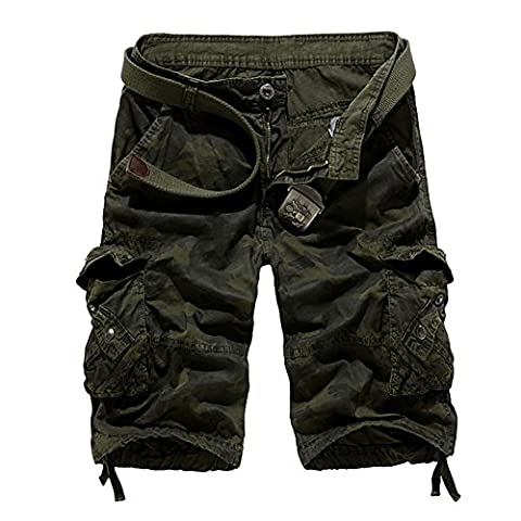 Sunshey Cotton Outdoor Military Camouflage Cargo Pants Shorts Men Summer Casual Multi Pockets Shorts (34, Army Green)