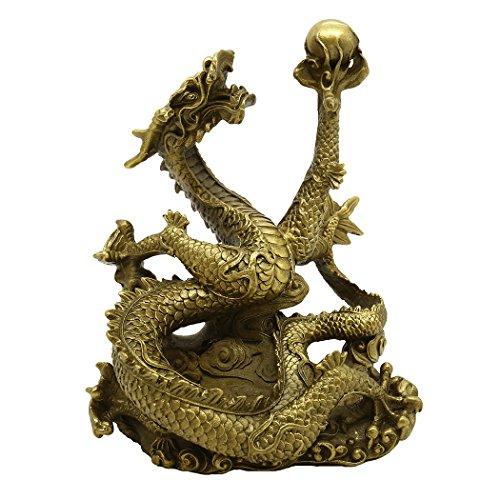 Chinese Begriff Handmade Messing Dragon Statue Figur Golden Reichtum Home Decor Einzugs WUNSCHZAHL Geschenk -