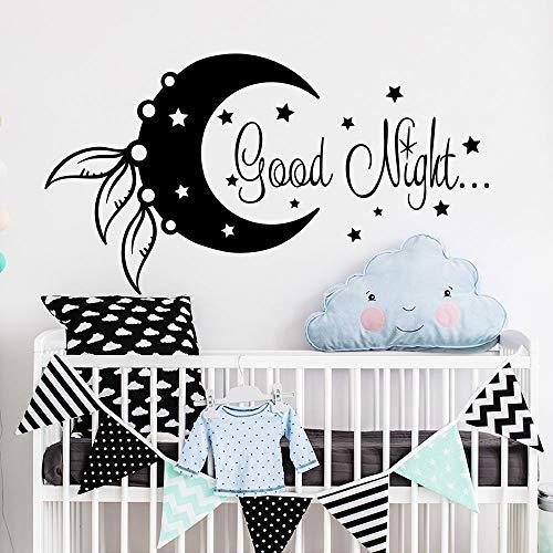 yiyiyaya Wandtattoo Mond und Stern Aufkleber Gute Nacht Dekor Vinyl Aufkleber Wandsticker für Kinderzimmer Kinderzimmer Süßes Weiß 85 x 47 cm - Ti Hill