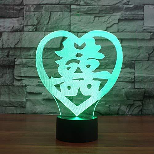 WZYMNYD USB Illuminations de sommeil de chambre à coucher 3D LED en forme de cœur Double bonheur, NightLight 7 Couleur de table à langer lampe Chinese Marry Decor cadeaux