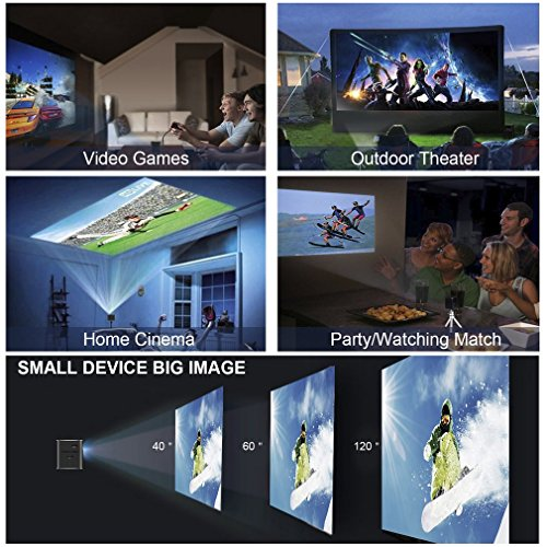 Top DLP Home Theater Projector, LESHP Mini Video Projector 1080P Portable Wi-Fi Smart Pico Projector, 1000:1 Contrast Max 120″ Screen Ideal for IOS/ Android/ Laptop/ iPad/ USB Special