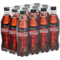 Coca-Cola Zero Sugar / Koffeinhaltiges Erfrischungsgetränk in stylischen Flaschen mit originalem Coca-Cola Geschmack - null Zucker und ohne Kalorien / 12 x 500 ml Einweg Flasche