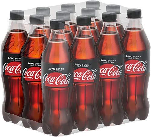 Coca-Cola Zero Sugar, Koffeinhaltiges Erfrischungsgetränk in stylischen Flaschen mit originalem Coca-Cola Geschmack - null Zucker und ohne Kalorien, EINWEG Flasche (12 x 500 ml)