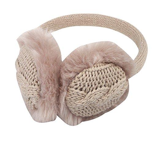 Surker femmes Faux de fourrure de lapin en tricot d'hiver cache-oreilles Warmers Cache-oreilles d'oreille Kaki